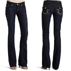 Rock & Republic KURT Yellow Stitch Detail Jeans Flare Leg #KRT0250 / 27